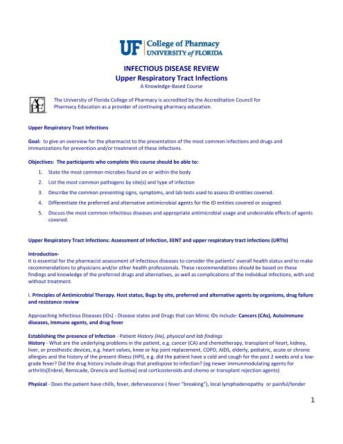 INFECTIOUS DISEASE REVIEW Upper Respiratory Tract Infections