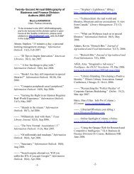 Twenty–Second Annual Bibliography of Business and Finance ...