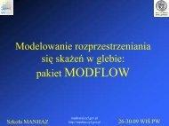 Transport zanieczyszczeń w glebie: Modflow - MANHAZ