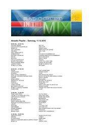 Aktuelle Playlist – Samstag, 11.12.2010