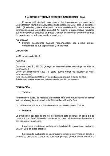 CURSO INTENSIVO DE BUCEO BÁSICO UMDI - Intranet - UMDI