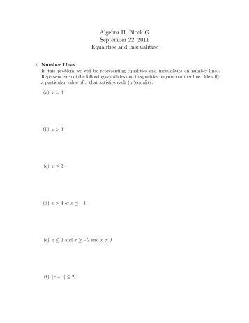 A worksheet on linear equalities and inequalities