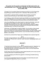 Konvention des Europarats zum Schutze der Menschenrechte und ...