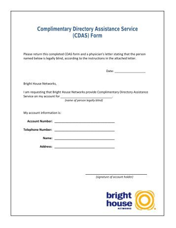 Complimentary Directory Assistance Service (CDAS) Form
