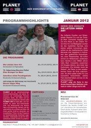 ProGrammHiGHliGHts Januar 2012 - Planet