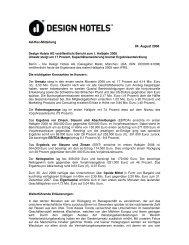 Ad-Hoc-Mitteilung 04. August 2008 - Design Hotels