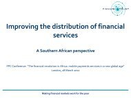 Improving the distribution of financial services - Foreign Policy Centre