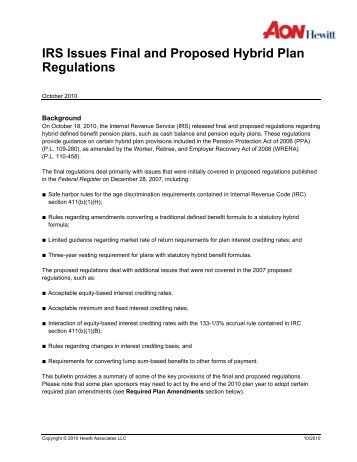 Irs Issues Final And Proposed Regulations For Hybrid Plans