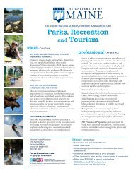 Parks, Recreation and Tourism - The University of Maine - School of ...