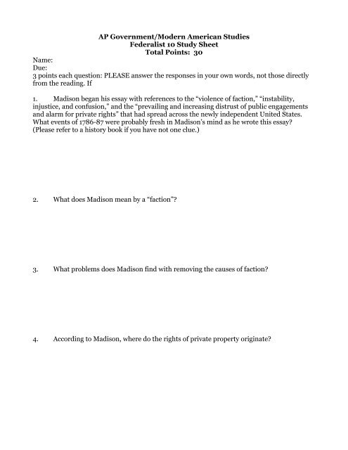 Federalist 10 Worksheet