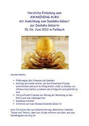 Herzliche Einladung zum AWAKENING-KURS mit Ausbildung zum ...