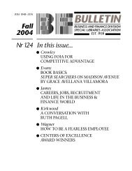 bulletin - Business & Finance Division - Special Libraries Association