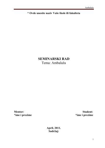 Ambalaža - Seminarski Maturski Diplomski Radovi