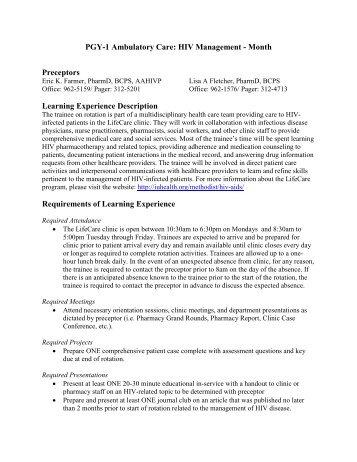PGY-1 Ambulatory Care: HIV Management - Month ... - IU Health