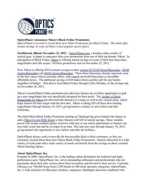 OpticsPlanet Announces Nikon's Black Friday ... - OpticsPlanet.com