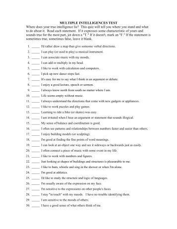 gardner multiple intelligences test pdf