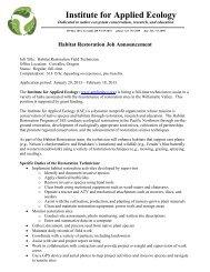 Habitat Restoration Field Technician - Institute for Applied Ecology