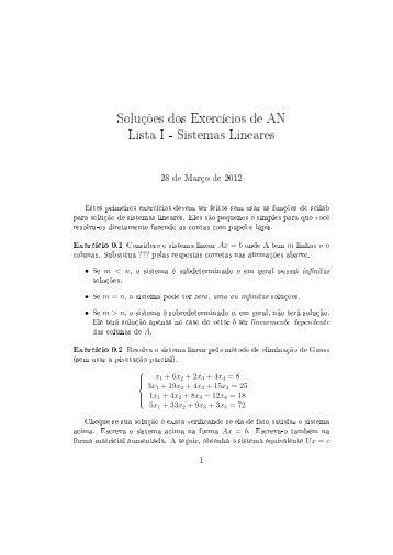 Soluções dos Exercícios de AN Lista I - Sistemas Lineares