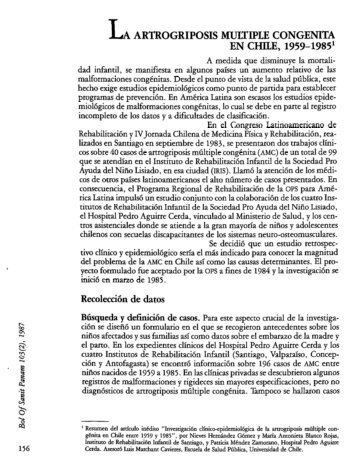 LA ARTROGRIPOSIS MCJKTIPLE CONGENITA EN ... - PAHO/WHO
