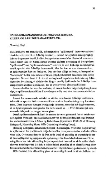 DANSK SPILLEMANDS MUSIKS FORUDSÆTNINGER, KILDER OG ...