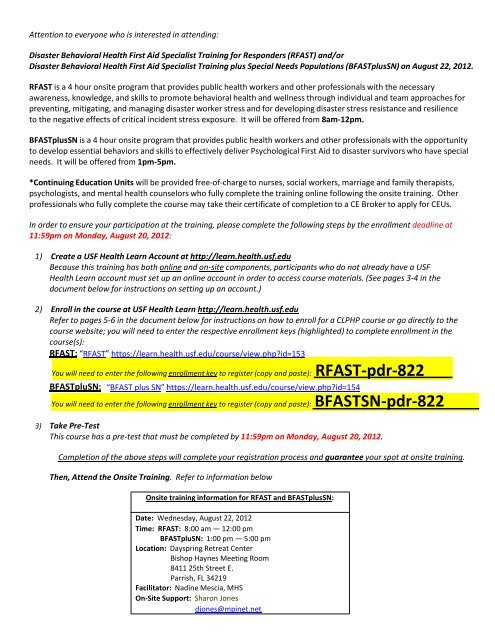RFAST.BFASTplusSN Training and Registration Information