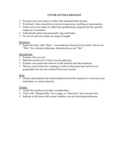 Cover Letter Check List Template