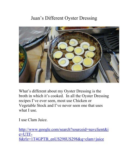 Juan's Different Oyster Dressing - The Geriatric Gourmet