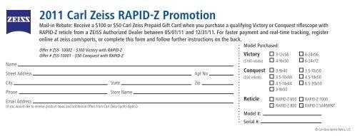 2011 Carl Zeiss RAPID-Z Promotion - OpticsPlanet.com