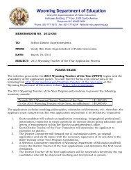 Memo No. 2012_050: Wyoming Teacher of the Year