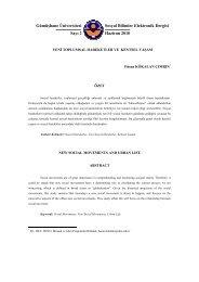 Yeni Toplumsal Hareketler ve Kentsel Yaşam - GÜ SBE Elektronik ...