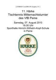11. Härke TT Mitternachtsturnier des VfB Peine - TTVN