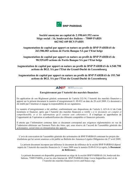 Personnes responsables du document - BNP Paribas