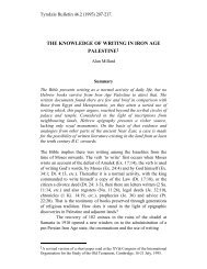 Knowledge of Writing in Iron Age Palestine - Tyndale House