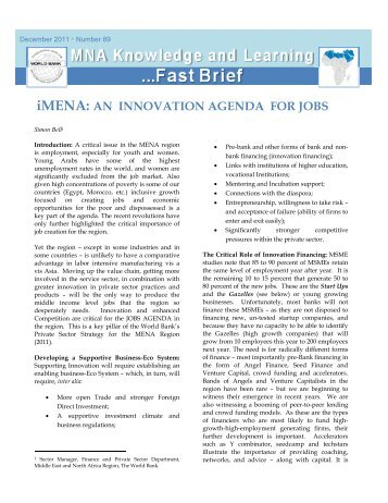 Developing an Innovation Strategy for MENA, iMENA Newsletter - CMI
