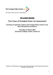 'Five Years of President Putin: An Assessment' - Foreign Policy Centre