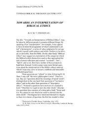 towards an interpretation of biblical ethics - Tyndale House