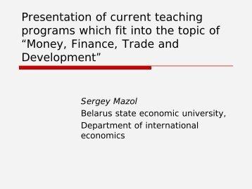 Belarus State Economic University - DAAD partnership on economic ...