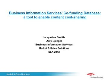 Business Information Services' Co-funding Database: a tool to ...