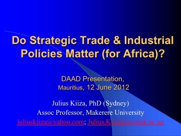 Do Strategic Trade & Industrial Policies Matter - DAAD partnership ...