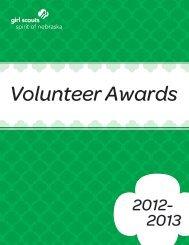 Volunteer Awards Guidebook - Girl Scouts Spirit of Nebraska