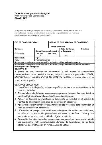 Taller de Investigación Sociológica I - Centro de Estudios ...