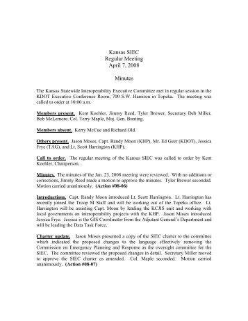 Kansas SIEC Regular Meeting April 7, 2008 Minutes