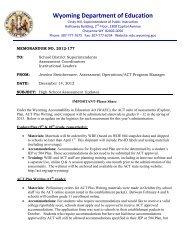 Memo no. 2012-177 - Wyoming Department of Education