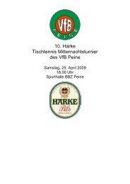 10. Härke Tischtennis Mitternachtsturnier des VfB Peine - TTVN