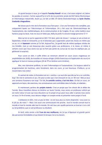 Tuesday Howell - IUT Angoulême