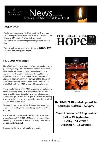 The HMD 2010 workshops will be held from 1.30pm—4.30pm ...