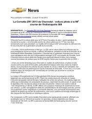 La Corvette ZR1 2013 de Chevrolet : voiture pilote à la ... - Opel Media
