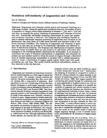 Statistical self‐similarity of magmatism and ... - Jon D. Pelletier