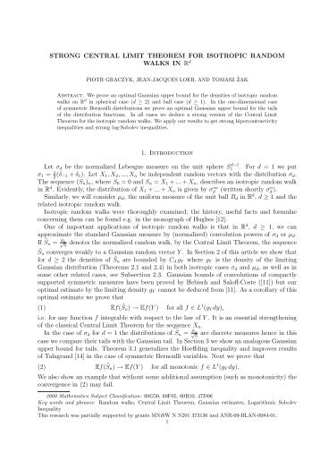 STRONG CENTRAL LIMIT THEOREM FOR ISOTROPIC RANDOM ...