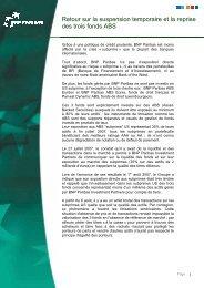 Retour sur la suspension temporaire et la reprise des ... - BNP Paribas